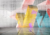 istock Empty room with colorful geometric graffiti, 3d 1272396170