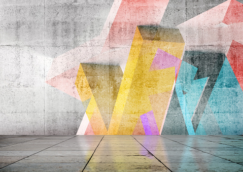 Empty room interior background with colorful geometric graffiti on the front wall. 3d rendering illustration