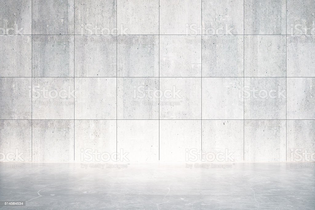 Empty room with concrete floor and wall stock photo