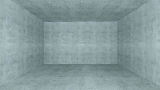 Empty room with concrete wall 3D rendering stock photo