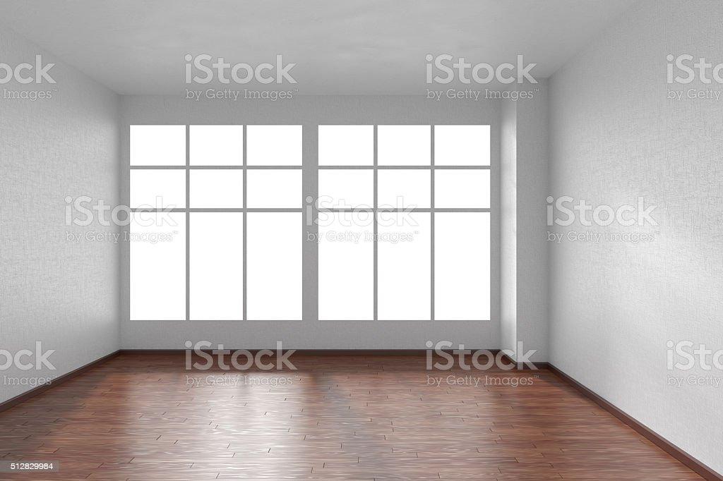 Pareti In Legno Bianco : Stanza vuota con pavimento in legno scuro pareti e finestre bianco