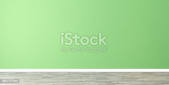 629801250istockphoto empty room with green wall 834727002