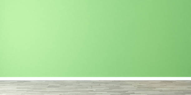 empty room with green wall stock photo