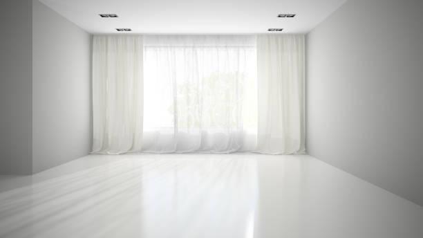 leeren raum mit grauen wand 3d-abbildung - gardinen weiß stock-fotos und bilder