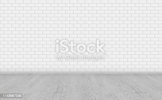 Empty room with grey wooden floor and classic white metro tiles wall. Long wide picture of empty living space room for design interior..