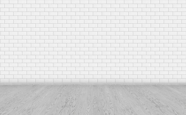 Empty room with grey wooden floor and classic white metro tiles wall. Long wide picture of empty living space room for design interior.. Empty room with grey wooden floor and classic white metro tiles wall. Long wide picture of empty living space room for design interior.. subway stock pictures, royalty-free photos & images