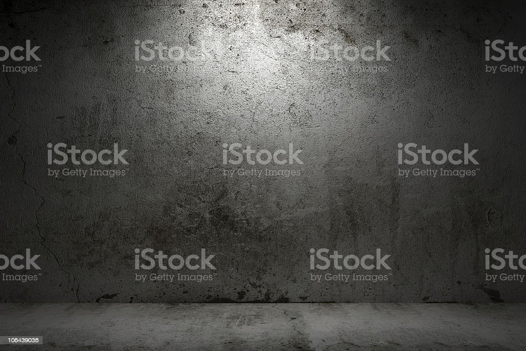 empty room with grunge concrete wall and cement floor stock photo