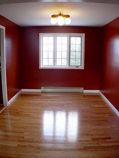 Empty Room with hard wood stock photo