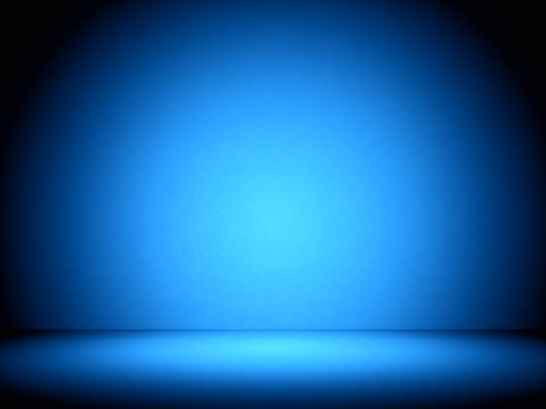 Empty room with illumination blue light stock photo