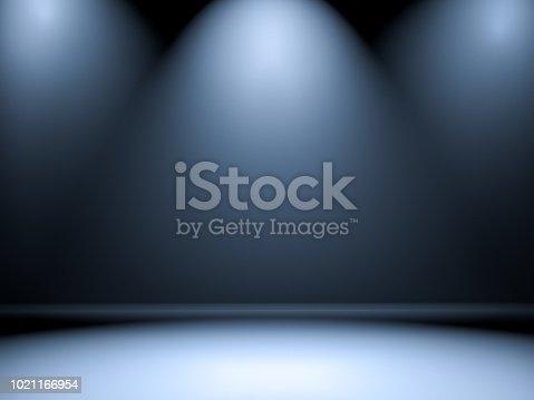 istock Empty room with illumination 1021166954