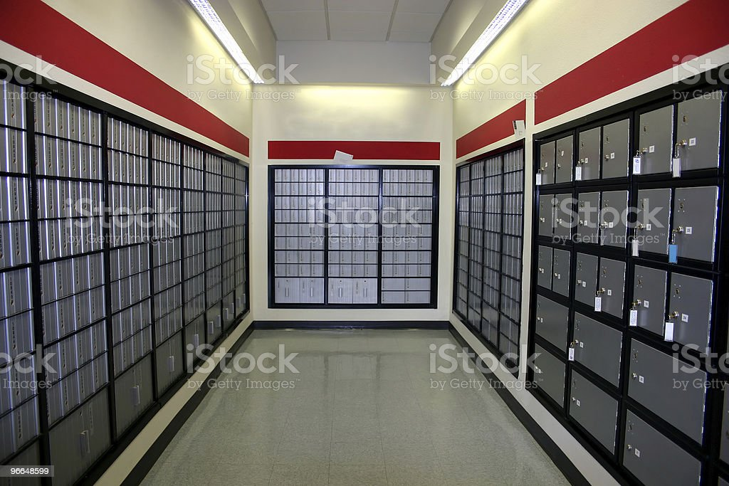 Empty room with mail boxes, post office stock photo