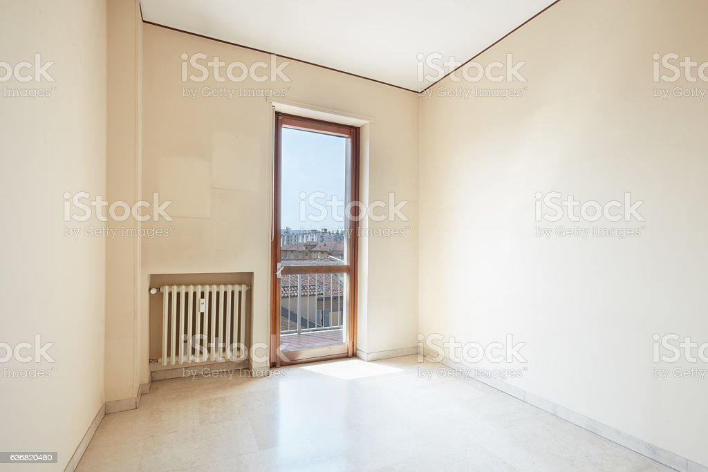 Empty room with marble floor in a sunny day stock photo