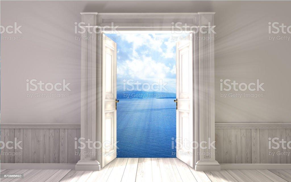 Leeren Raum mit geöffneter Türe. 3D-Rendering – Foto