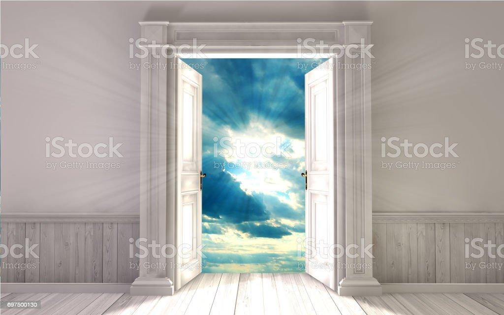 Empty room with opened door. 3d rendering stock photo