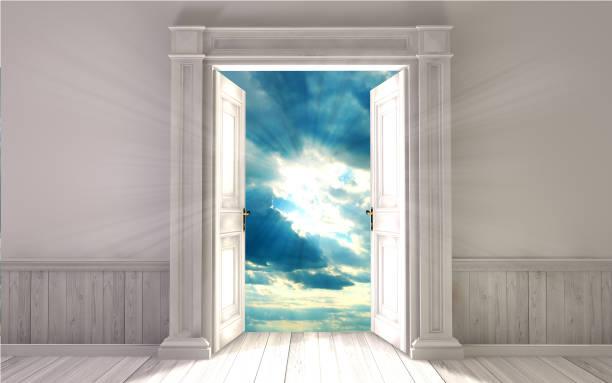 empty room with opened door. 3d rendering - heaven stock photos and pictures
