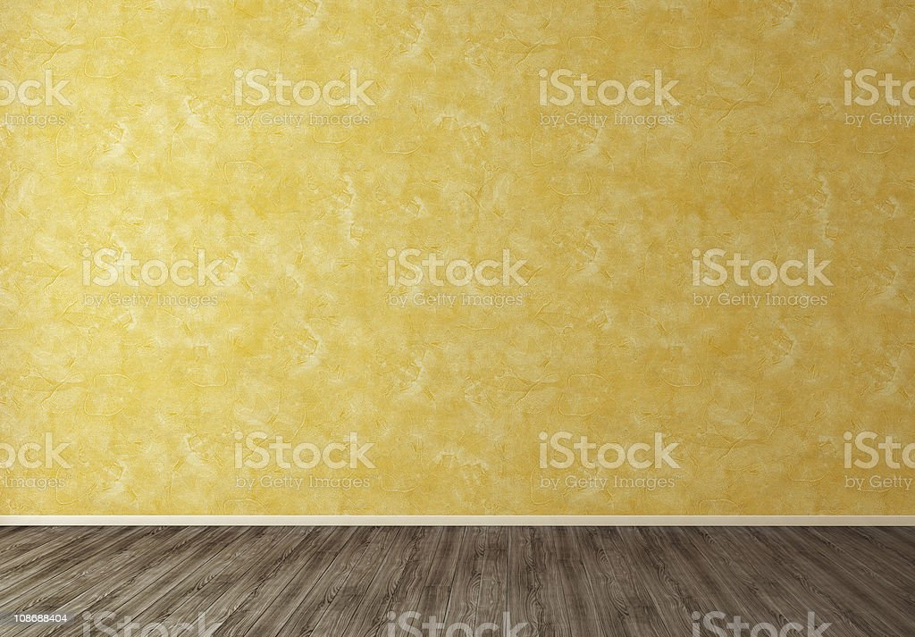 Empty Room with Orange Wall stock photo