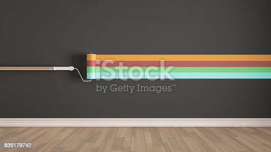istock Empty room with paint roller and painted wall, wooden floor, colorful minimalist interior design 839179742