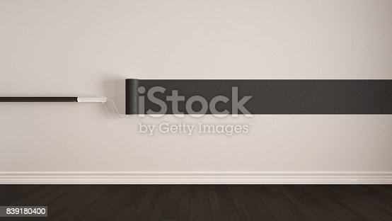 istock Empty room with paint roller and painted wall, wooden floor, gray and white minimalist interior design 839180400