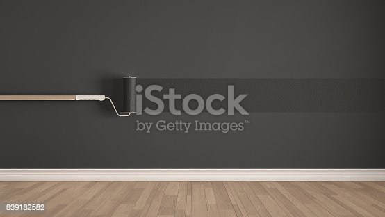 657926276istockphoto Empty room with paint roller and painted wall, wooden floor, gray minimalist interior design 839182582