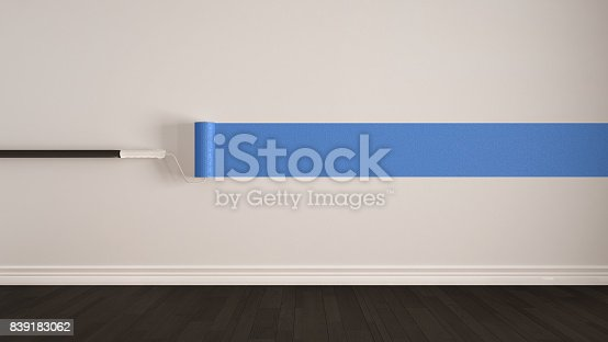 istock Empty room with paint roller and painted wall, wooden floor, white and blue minimalist interior design 839183062