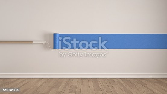 657926276istockphoto Empty room with paint roller and painted wall, wooden floor, white and blue minimalist interior design 839184790