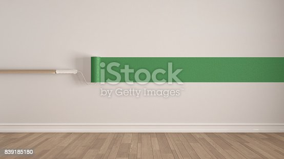 657926276 istock photo Empty room with paint roller and painted wall, wooden floor, white and green minimalist interior design 839185180