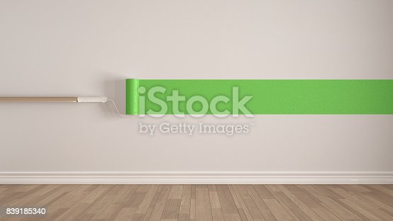 657926276 istock photo Empty room with paint roller and painted wall, wooden floor, white and green minimalist interior design 839185340