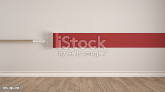 657926276 istock photo Empty room with paint roller and painted wall, wooden floor, white and red minimalist interior design 839186288