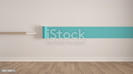 657926276 istock photo Empty room with paint roller and painted wall, wooden floor, white and turquoise minimalist interior design 839186512