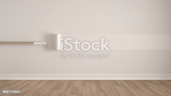 657926276 istock photo Empty room with paint roller and painted wall, wooden floor, white minimalist interior design 839174544