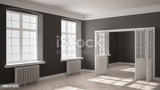 521806786 istock photo Empty room with parquet floor, big windows, doors and radiators, white and gray interior design 688424802