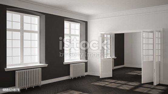 521806786 istock photo Empty room with parquet floor, big windows, doors and radiators, white and gray interior design 688424878