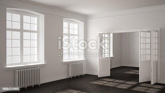 521806786 istock photo Empty room with parquet floor, big windows, doors and radiators, white and gray interior design 688424990