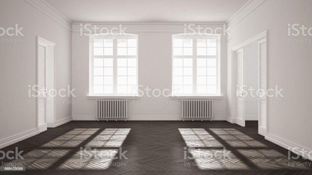 Empty Room With Parquet Floor Big Windows Doors And ...