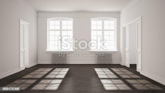 521806786 istock photo Empty room with parquet floor, big windows, doors and radiators, white and gray interior design 688425098