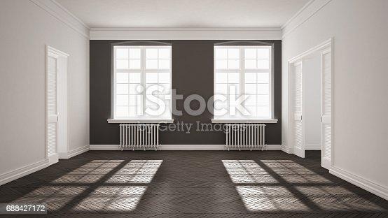 521806786 istock photo Empty room with parquet floor, big windows, doors and radiators, white and gray interior design 688427172