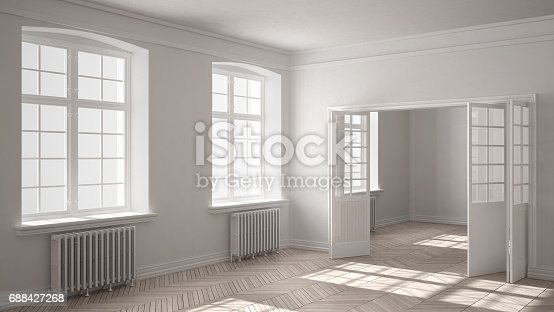 521806786 istock photo Empty room with parquet floor, big windows, doors and radiators, white interior design 688427268