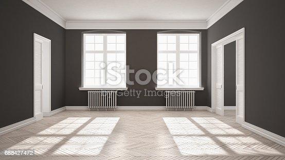 521806786 istock photo Empty room with parquet floor, big windows, doors and radiators, white and gray interior design 688427472
