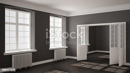 521806786 istock photo Empty room with parquet floor, big windows, doors and radiators, white and gray interior design 688427558