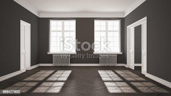 521806786 istock photo Empty room with parquet floor, big windows, doors and radiators, white and gray interior design 688427830