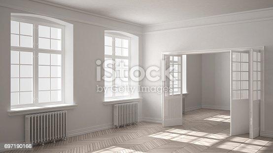 521806786 istock photo Empty room with parquet floor, big windows, doors and radiators, white interior design 697190166