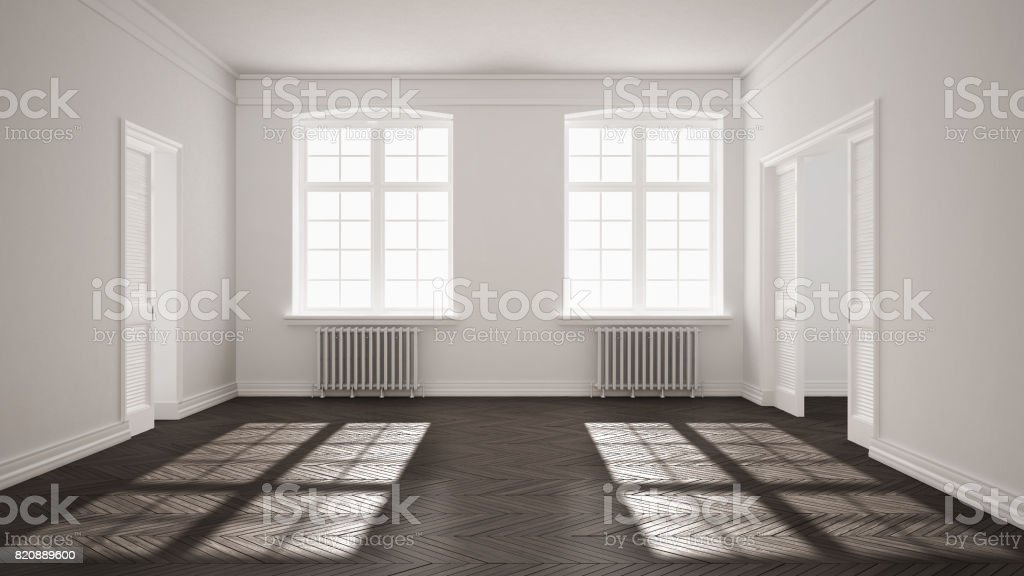 . Empty Room With Parquet Floor Big Windows Doors And Radiators White And  Gray Interior Design Stock Photo   Download Image Now