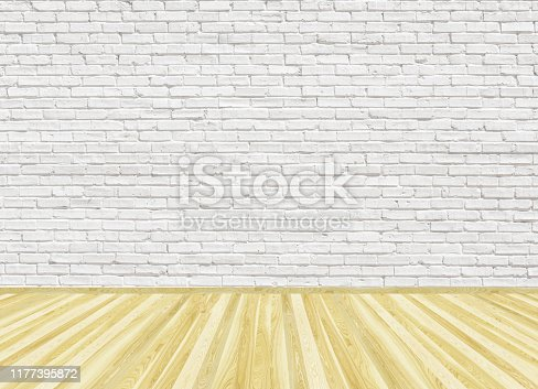 Empty room with parquet wooden floor and old white painted brick wall. 3D rendering illustration of living space for design interior.