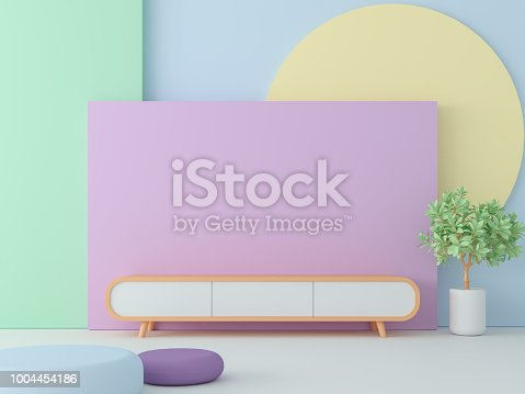 Empty room with pastel color 3d render,Decorate wall with colorful geometry object