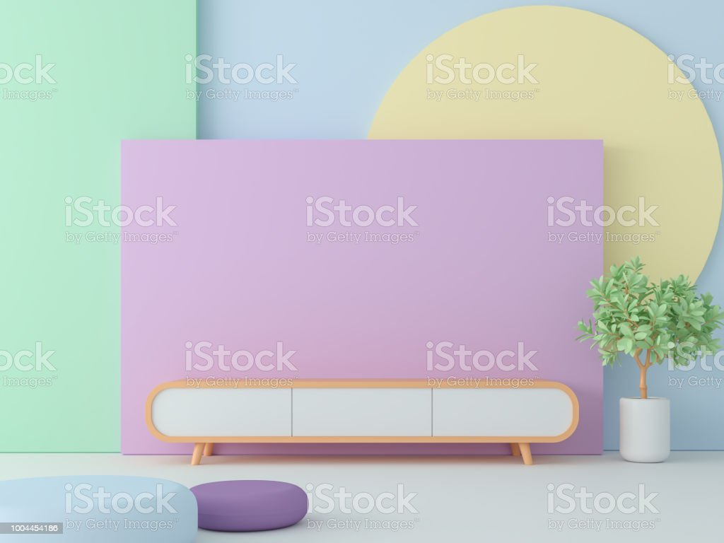 Empty room with pastel color 3d render stock photo