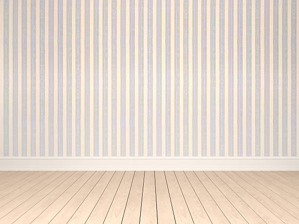 Empty room with pattern wallpaper - Photo
