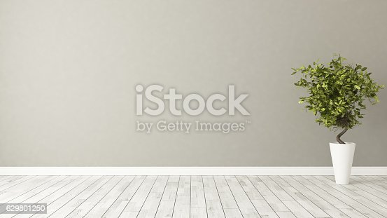 629801250istockphoto empty room with plant and brown wall 629801250