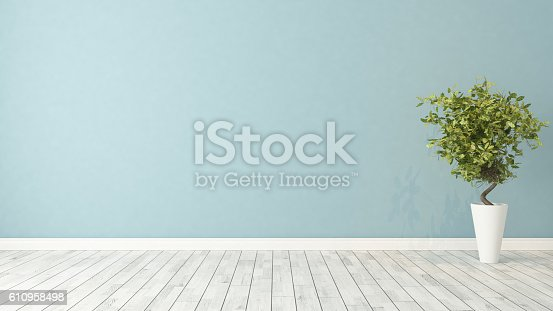 istock empty room with plant 610958498