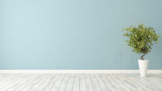 istock empty room with plant 610958498