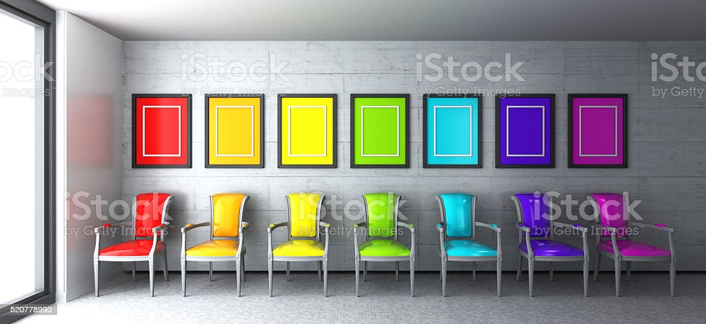 Empty Room With Rainbow Colored Chairs Royalty Free Stock Photo
